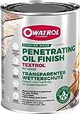 OWATROL – TEXTROL – 1 L – Eiche rustikal – Holzsättiger für den Außenbereich auf natürlicher Pflanzenölbasis für Holzhäuser, Zäune, Gartenhäuser, Holzfassaden, Holz im Außenbereich – Holzschutzöl für Terrassen und Möbel
