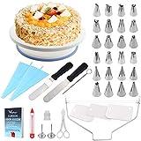 WisFox Tortenplatte Drehbar Tortenständer Kuchen Drehteller Cake Decorating Turntable mit Zuckerguss, Spritzbeutel und Tipps-Set, Vereisungsspachtel und glatter, Gebäckwerkzeug