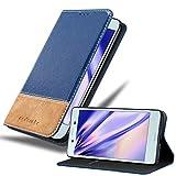 Cadorabo Hülle für Sony Xperia X Compact in DUNKEL BLAU BRAUN – Handyhülle mit Magnetverschluss, Standfunktion und Kartenfach – Case Cover Schutzhülle Etui Tasche Book Klapp Style