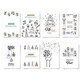 Donari Weihnachtskarten Set mit 8 liebevoll gestalteten Postkarten für Weihnachten - Weihnachtspostkarten in edelem Design zum verschenken an Weihnachten