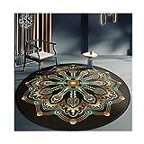 Siunwdiy Rug Mandala Runde Retro Ethno-Stil Teppiche marokkanische Teppiche Waschbar Loungesofa/Zimmer/Wohn- / Auto/Stuhl,K,Diamètre80cm
