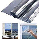 d.Stil Spiegelfolie Selbstklebend Sonnenschutzfolie Sichtschutzfolie 99% Anti-UV Wärmeisolierung Fensterfolie für Büro und Haus Silber Fenstertönung