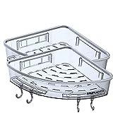 cowaver 2er-Pack Eck-Duschablage mit tiefem Korb, Badezimmer-Regal, kein Bohren, Eck-Aufbewahrung, Organizer, Shampoo-Halter, klassisches Design, leicht und kompakt