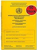 Internationaler Impfausweis STANDARD Impfpass Impfbuch -NEUE Ausgabe 2021- Internationale Bescheinigung über Impfungen, 28 Seiten inkl. Extraseiten für aktuelle Schutzimpfungen (50 Stück)