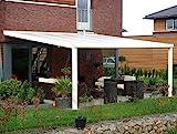 ALU Terrassenüberdachung 300 cm x 300 cm wahlweise in 3 Farben Montagefertig Überdachung Vordach Überdachung Aluminium T