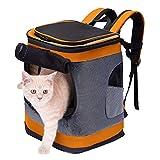 HAPPY HACHI Faltbar Weich Haustier Rucksack Rückenspritze Haustier Gepäckträger für Kartze Hunde mit einstellbar Polsterstuhl Schulter Gewebe Top-Openning Öffnung bis zu 10kg (Orange)
