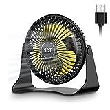 USB Ventilator, Mini Ventilator Klein, 360° Drehung Neigbar Leise 3 Geschwindigkeiten Tischventilator, USB lüfter Einfach zu Tragen, für Büro, Zuhause und im Freien… (Black-usb)