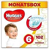 Huggies Windeln Ultra Comfort Baby Größe 6 Monatsbox, 102 Stück (3 x 34 Babywindeln), Monatspack, Großpackung