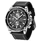BENYAR – Stilvolle Armbanduhr für Herren, Echtleder-Armband, perfektes Quarz-Uhrwerk, wasserdicht und kratzfest, Analog-Chronograph, Business-Uhren, bestes Herren-Geschenk schwarz
