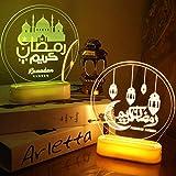 Shenrongtong 3D Tischlampe, Eid Mubarak Ramadan Licht LED Mubarak Lichter Mit 8 Modi Remote, Mondschloss Nachtlicht Muslimische Islam Eid Dekorationen Für Home Schlafzimmer Party