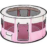TecTake Welpenlaufstall Tierlaufstall faltbar mit abnehmbarem Boden für Kleintiere wie Hunde, Hasen, Katzen - Diverse Farben - (Pink | Nr. 402437)