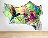 J367 Kolibri Blumen Natur zertrümmert Wandtattoo 3D Kunst Aufkleber Vinyl Zimmer groß
