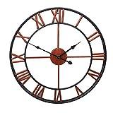 QAZW Europäischen Stil 50cm Metall Runde Große Wanduhr Kreative Schmiedeeisen Uhr Wohnzimmer Uhr Zeit,Red-20in