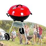 ZhiLianZhao Holzkohlegrill mit Deckel, Emaille-Grill Kugelgrill, Stahlkochrost, für Outdoor-Camper Grillliebhaber Camping, Gartenparty Und Familienferien