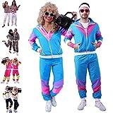FetteParty - 80er & 90er Jahre Trainingsanzug - Retro Jogginganzug - Assi Kostüm - Mottoparty Outfit für Damen und Herren ( Unisex ) Vintage Sportanzug Neonfarben - für Karneval Fasching Autodisco