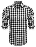 COOFANDY Herren Hemd Langarm Kariert Trachtenhemd Kentkragen Regular Fit Freizeit Casual Party Basic Männer Langarmhemden(Schwarz-Weiß,XXL)