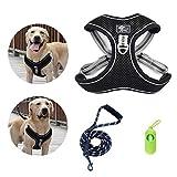 Hundegeschirr und Leine Set mittelgroße und große Hunde No-Pull Laufgeschirre für Hunde Verstellbar Brustgeschirr Atmungsaktiv Ausbruchsicher Ausbildung Reflektierend Haustierweste Tägliches Laufen