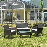 Hengda Polyrattan Lounge Sitzgruppe für 4 Personen inkl. Sitzpolster und Tisch, Braun, Komfortabel Gartenmöbel Terrassenmöbel für Balkon, Garten, T