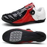 Herren-Rennrad-Fahrradschuhe, Bequeme Atmungsaktive Rotierende Reitschuhe, Ultraleichte Outdoor-Boost-Fahrradschuhe (Schwarz Weiß Rot)