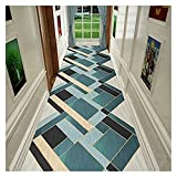 Langer Flur Hall Runner schmaler Teppicher Runner-Teppich für den Flur, einfache geometrische Muster rutschfeste Eingang Teppiche, waschbare Bodenmatte mit niedrigem Flor, Länge M