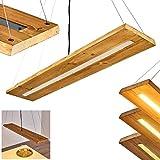 LED Pendelleuchte Adak, dimmbare Hängeleuchte aus Holz/Metall in Braun/Dunkelgrau, moderne Hängelampe, Höhe max. 150 cm, Pendellampe dimmbar über Lichtschalter, 27 Watt, 3000 Lumen max, 3000 Kelvin
