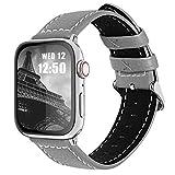 Fullmosa kompatibel mit Apple Watch Armband 42mm 44mm,Leder Uhrenarmband,Ersatzarmband für iWatch Band iwatch Series SE/6/5/4/3/2/1,Grau 42mm