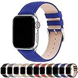 Fullmosa Kompatibel Apple Watch Armband 38mm 42mm 40mm 44mm, Lederarmband, iWatch Ersatzarmband für iWatch Serie SE/6/5/4/3/2/1, Elektrisches Blau + Silberne Schnalle 42mm/44mm