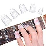 Silikon Fingerschutz Gitarre, 40 Stück 5 Größen Anti-Rutsch Gummi Fingerschutz fur Kinder Erwachsene, Fingerkuppenschutz Guitar Ukulele Saiten Instrument Fingerspitzen Schutz Ideal Gitarren Zubehör