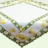 Tischdecke Mitteldecke Ente mit Küken weiß mit grünem Rand Osterdeko Ostern Ostertischdecke (40*90 cm)
