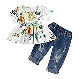 Baby Kleidung Set Mädchen Floral Crop T-Shirts Tops + Loch Denim Hosen Jean Kleinkind Kid Outfits Set Trousers Kinderbekleidung, Grün, 12-18 Monate