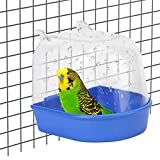 Papageien Transparente Badewanne Kunststoff Vogel Badewanne Vögel Badehaus mit Haken für die Meisten Vogelkäfige Haustier Papageien Wellensittiche Sittiche Nymphensittiche Käfig Wasser Dusche 1 Stück