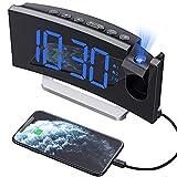 Mpow Projektionswecker, Wecker Digital mit Projektion, Radiowecker mit USB-Anschluss, Dual-Alarm, 5 Alarmtöne mit 3 Lautstärke, 0-100% Helligkeitsdimmer, 4 Projektionshelligkeit, 30 FM R