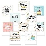 20x Postkarten Grußkarten Polaroid-Format, Spruchkarten, Geschenk Karte, Motivkarten Glückwunschkarten Kartenset mit Sprüchen Kartenset Glückwunschkarte Geburtstag, Liebe, 12x10 cm, Rückseite frei