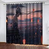 TFNIMB Blickdicht Gardinen mit Ösen für Wohnzimmer Schlafzimmer Thermogardinen Lärmreduzierung Vorhang verdunkelungsvorhang 200Bx160H cm Animationsmädchen 2er Set