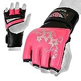MMA Handschuhe, UFC Kickboxhandschuhe, MMA Sparring Handschuhe, MMA Training Ausrüstung, Kampfhandschuhe für Mixed Martial-Arts, MMA Trainingshandschuhe Erwachsene Männer & Frauen (Pink, Small)