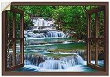 Artland Wandbild selbstklebend Vinylfolie 70x50 cm Wanddeko Wandtattoo Fensterblick Fenster Urwald Wasserfall Thailand Wald Fluss Felsen T5NL