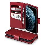 TERRAPIN, Kompatibel mit iPhone 11 Pro Hülle, [ECHT Leder] Brieftasche Case Tasche mit Standfunktion Kartenfächer und Bargeld - Rot