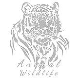 Metallic Bügeltransfer | glänzend | DIN A4 | Textilien wie T-Shirts & Taschen mit Bügelmotiven verzieren | Bilder schnell & einfach aufbügeln | DIY Textildesign (Tiger | Silber)