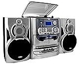 Karcher KA 5300 Kompaktanlage (3-fach CD-Wechsler, Schallplattenspieler, Kassettendeck, Radio, Fernbedienung) silber