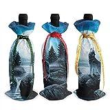 Weinflaschen-Abdeckung mit heulendem Wolf und Mond, 3 Stück
