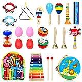 Jojoin Musikinstrumente Kinder Set, 24 Stück Holz Percussion Set für Kleinkinder und Baby, Musik Kinderspielzeug Geschenke, Xylophon Percussion Instrumente mit Tragetasche
