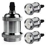 DiCUNO E26 / E27 Vintage Solid Lampenfassung Keramik Lampe Halter Edison Schraube Glühbirne Buchse Adapter (Chrome Color, 4P)