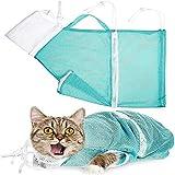 Verstellbare Haustier-Badetasche, multifunktional, Polyester, tragbare Fellpflegetasche, mit rutschfestem Griff, multifunktionale Katzenfessel-Reisetasche zum Baden und Pflegen (grün)