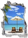 Strand Palme Urlaub Erholung Wandtattoo Wandsticker Wandaufkleber E0340 Größe 67 cm x 90 cm