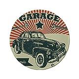 Rutschfreies Gummi-Rundmaus-Pad Autos Retro-Auto und Garage Werbeplakat-Stil Bild mit Grunge-Effekten 1960er-Jahre-Thema Grau-Beige 7.9'x7.9'x3MM