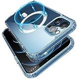 Transparente magnetische Hülle kompatibel mit iPhone 12/12 Pro (6.1') Magsafe Ladegerät Anti Gelb Silikon Handyhülle, Niedliche stoßfeste weiche Silikon dünn PC zurück TPU kristallklar F