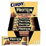 Corny Your Protein Peanut Caramel Crunch, Eiweiß-Riegel mit 30 Prozent Protein, ohne Zuckerzusatz, 12er Pack (12 x 45g)