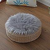 Spitzenqualität Lammfellimitat Teppich,KAIHONG 30 x 30 cm Lammfellimitat Teppich Longhair Fell Optik Nachahmung Wolle Bettvorleger Sofa Matte (Rund grau, 30 x 30 cm)