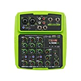 SUOTENG Sound-Mixing Console Record, 4/6-Kanal Mini Mixer Audio DJ Konsole mit Soundkarte, USB, 48 V Phantomspeisung für PC-Aufnahmen, Gesang, Webcast-Party (Farbe: Grün 4)