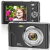 Digitalkamera 1080P FHD Mini-Videokamera 36MP LCD-Bildschirm Wiederaufladbare Studenten Kompaktkamera Taschenkamera mit 16-Fach Digitalzoom YouTube Vlogging-Kamera für Kinder, Erwachsene, Anfäng